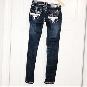 Miss Chic Rhinestone studded skinny jeans